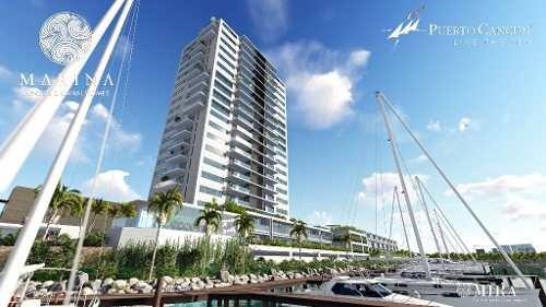 desarrollo marina. de lujo en puerto cancun. depto. de 2 recs. preventa