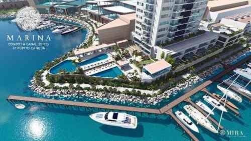desarrollo marina en puerto cancun. de lujo. depto. de 3 recs.