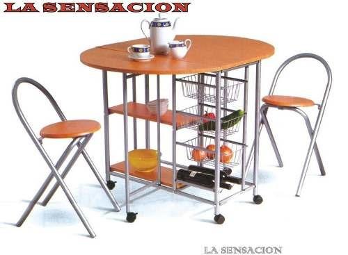 Desayunador banquetas comedor mesa plegable sensacion for Mesa plegable mercado libre