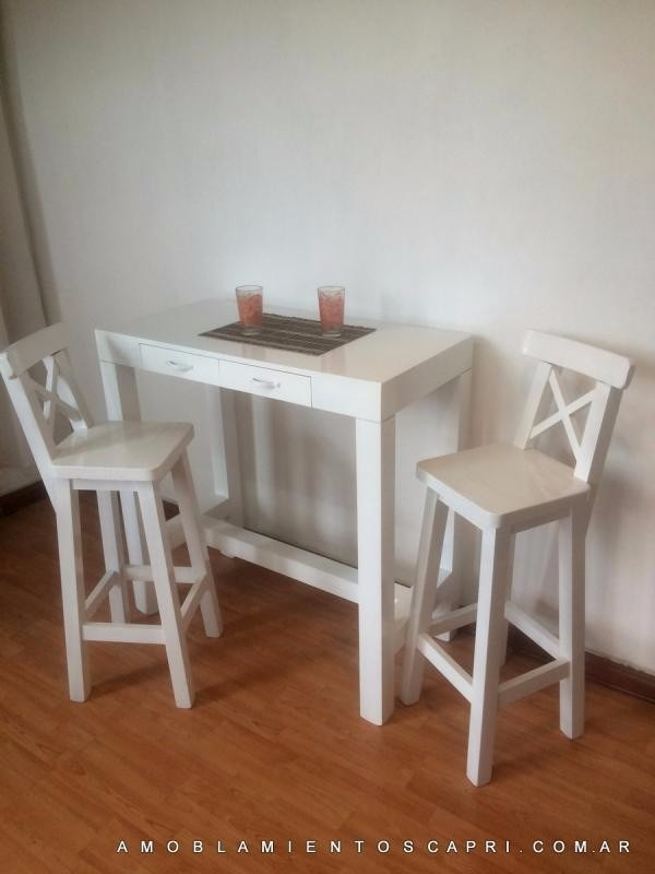Desayunador barra cocina mesa auxiliar 2 bancos for Mesa barra cocina