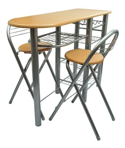 desayunador, barra, cocina, mesa, repisas y sillas plegabl
