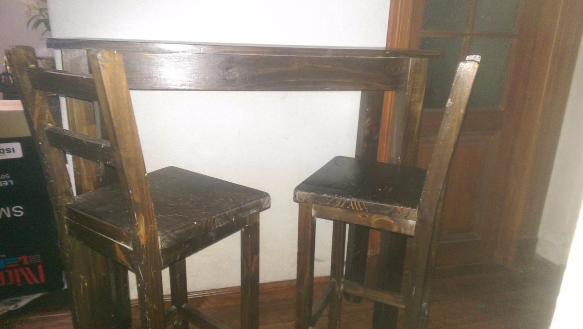 Desayunador butacas y mesa altas tipo barra madera - Butacas altas ...
