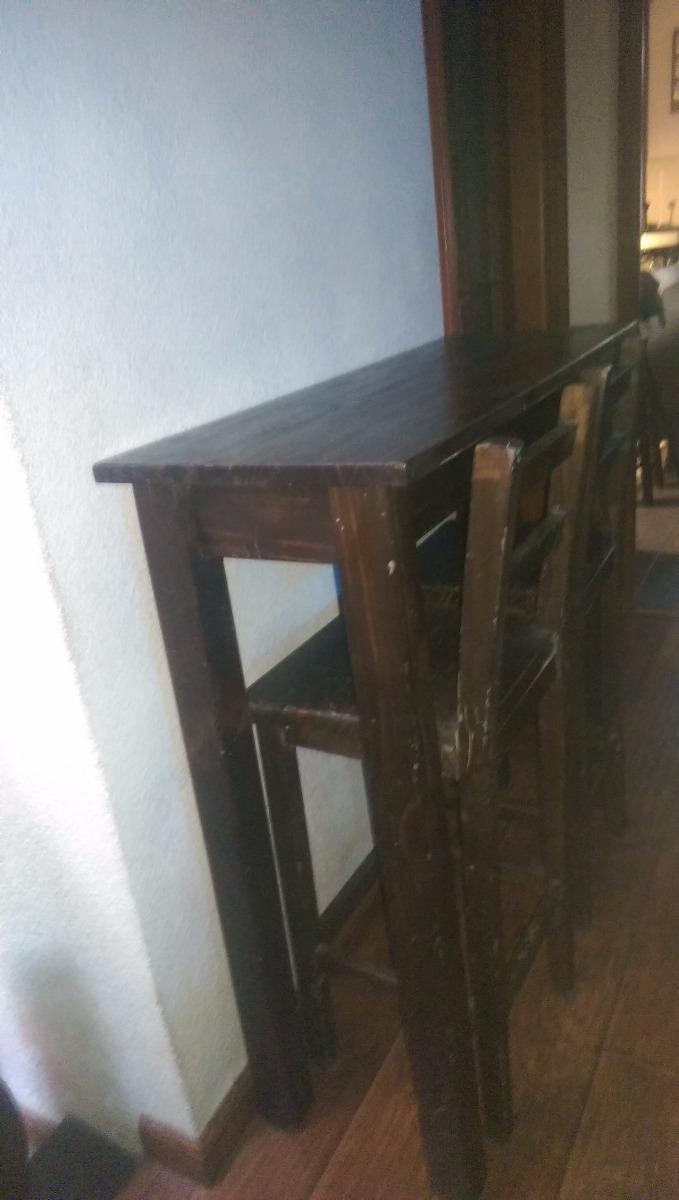 Desayunador butacas y mesa altas tipo barra madera for Butacas para barras en madera