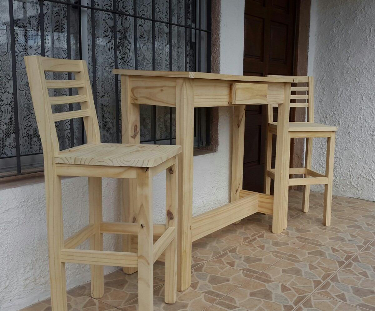 Desayunador con caj n y 2 sillas altas en for Sillas para desayunador