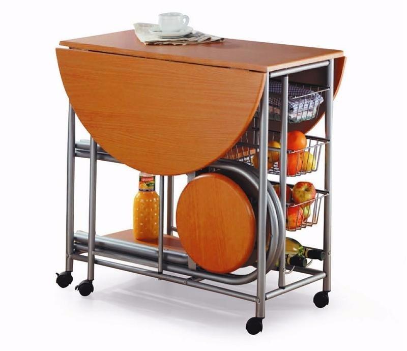 Desayunador mesa auxiliar de cocina plegable c 2 banquetas en mercado libre - Auxiliar cocina ...