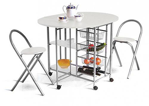 desayunador - mesa auxiliar de cocina plegable c/2 banquetas