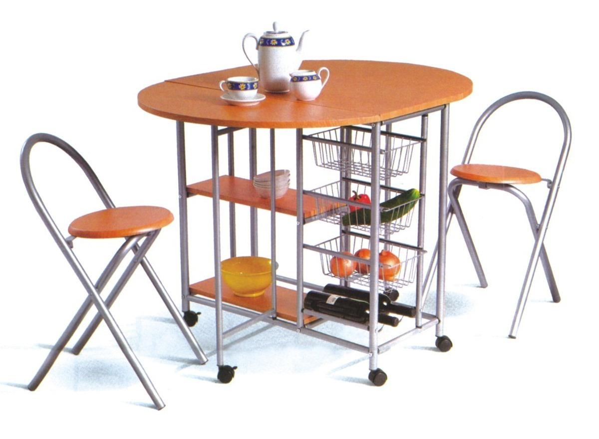 Desayunador mesa cocina plegable auxiliar con 2 for Mesa cocina frutero