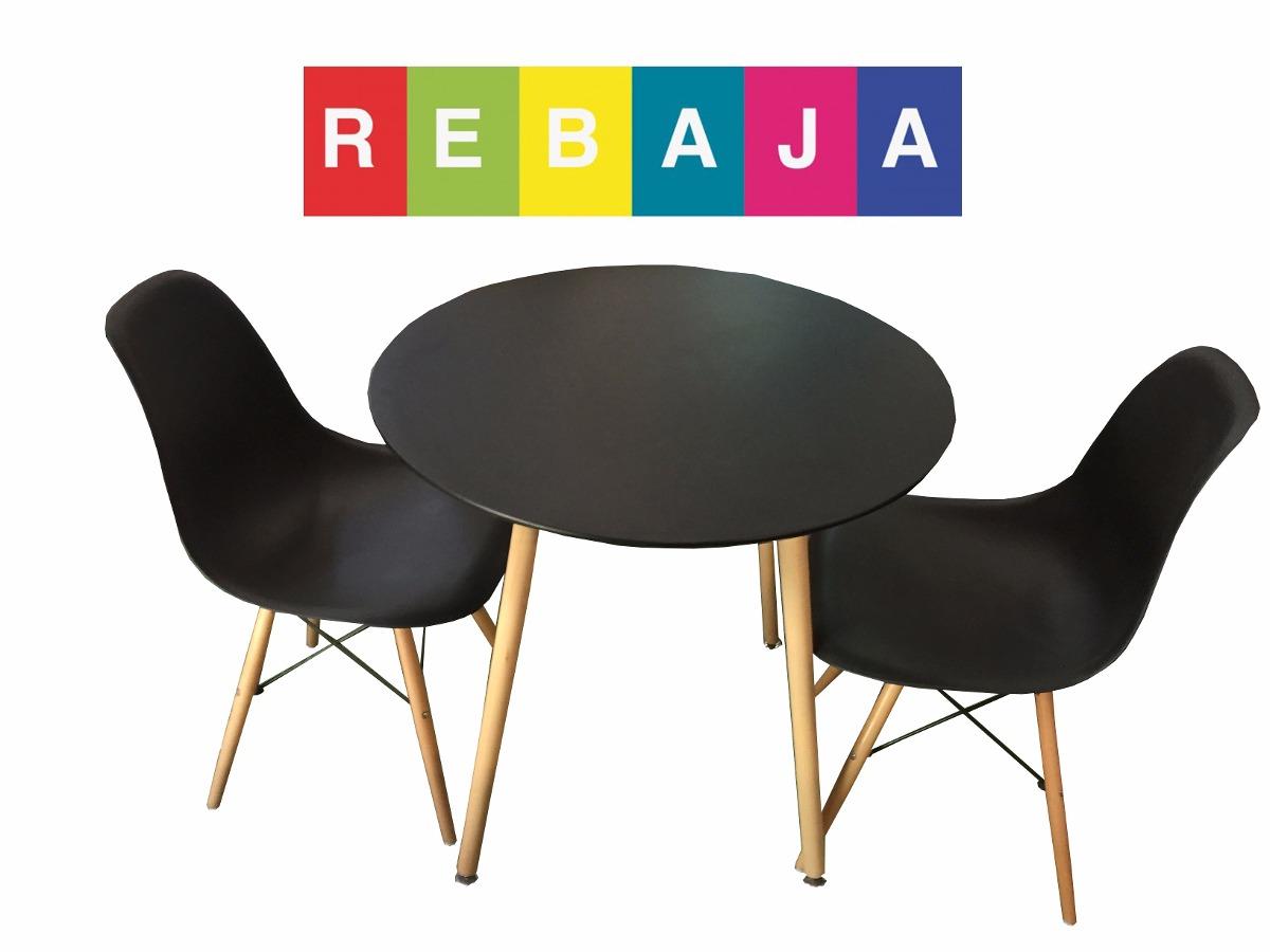 Desayunador mesa redonda negra con 2 sillas eames cocina for Sillas cocina negras