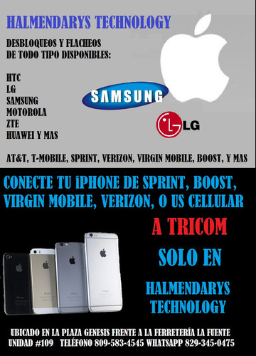 desbloqueos de sprint, virgin, boost para claro, orange, etc