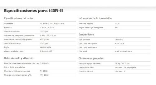 desbrozadoras motoguadaña husqvarna 143r-ii 2,01hp - 41,5cm3