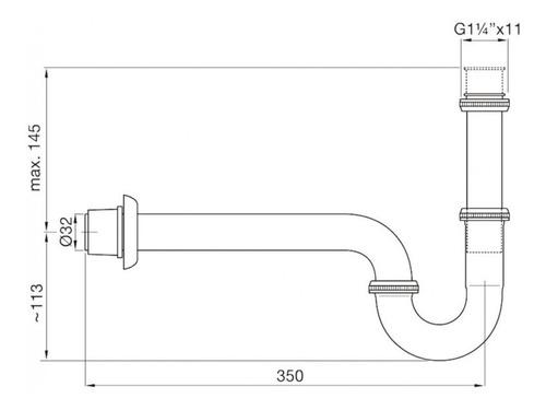 descarga desagüe con sifón fv 242.02 cromado