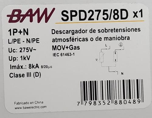 descargador de sobretensiones, rayos mov+gas clase iii 8ka