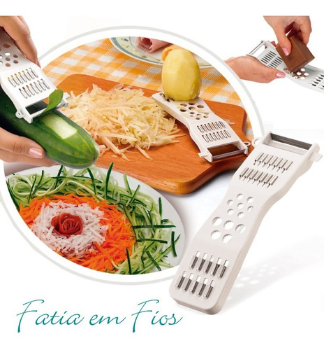 descascador ralador fatiador espaguete de legumes fruta 5 em1