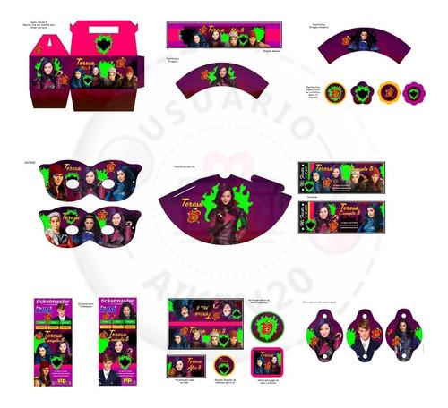 descendientes kit imprimible + candy+ tarjetas + 2 x 1