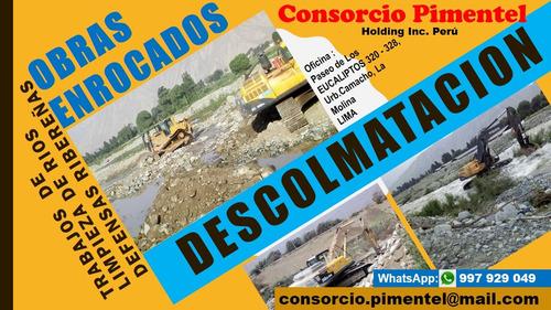 descolmatación limpieza de ríos enrocado defensas perú 2018