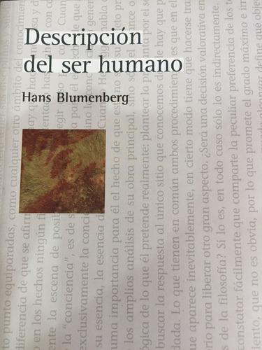 descripción del ser humano.hans blumenberg
