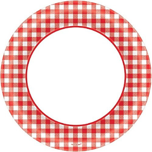 desechables picnic clásico red gingham border round plates