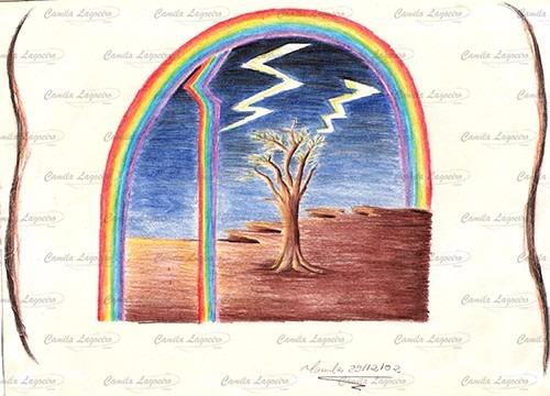 desenho arco-íris lápis de cor