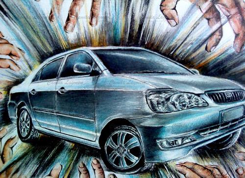 desenho carro lápis de cor
