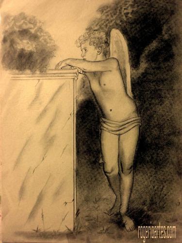 desenho em papel anjos pintura tela quadro arte