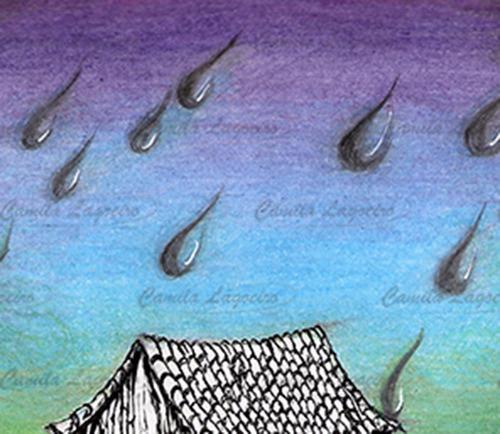 desenho lápis de cor casinha penhasco