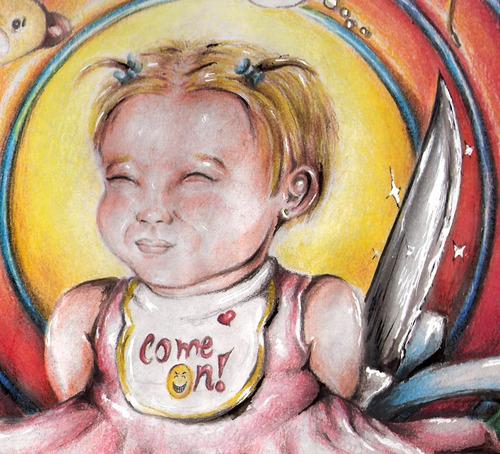 desenho menininha má lápis de cor