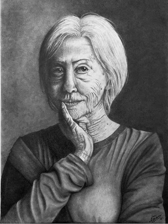 Desenho Realista De Retrato Preto E Branco A3 Com Moldura R
