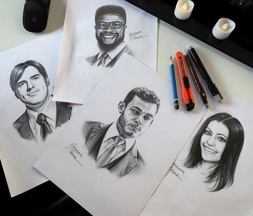 desenho sob encomenda / retrato realista a lápis grafite a4