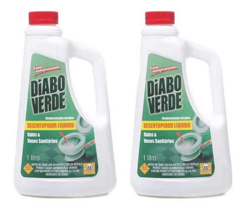 desentupidor de ralos e pias diabo verde 1 litro - 2 un
