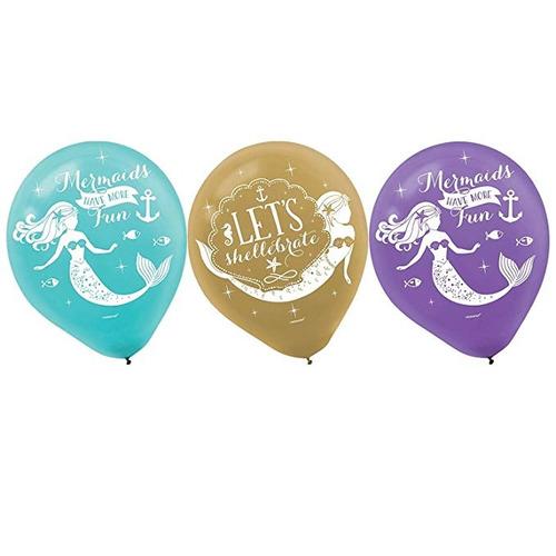 deseos sirena globos 6 unidades