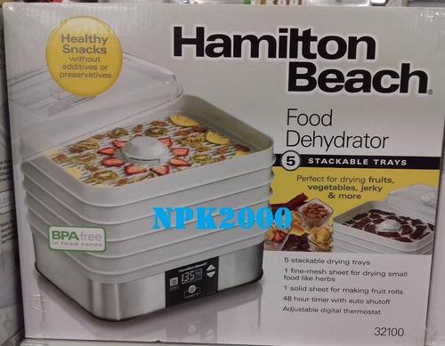 deshidratador de alimentos y frutas hamilton beach 5 niveles