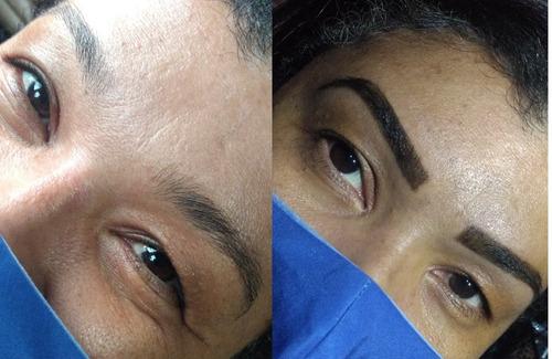design de sobrancelha, extensão de cílios