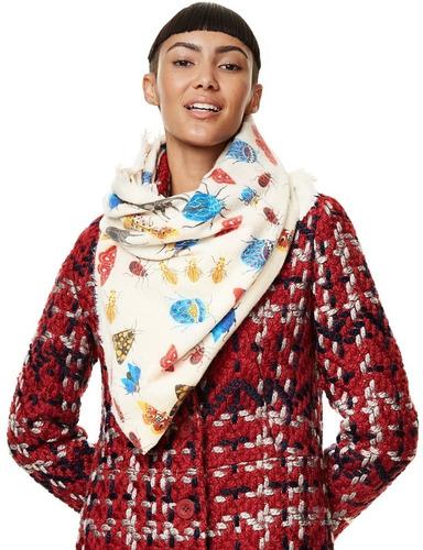 desigual pañuelo invierno floral color marfil