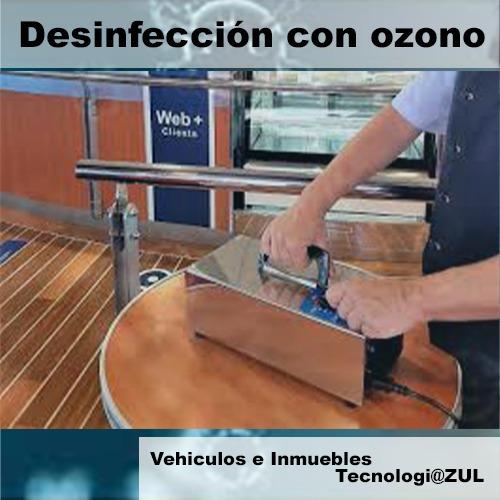 desinfección con equipo profesional generador de ozono.
