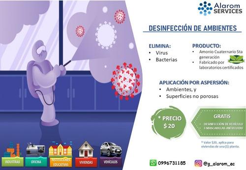 desinfección de ambientes casas departamento carro amonio