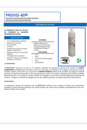 desinfectante biodegradable provid/virucida/elimina virus