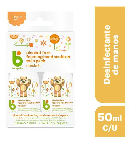 desinfectante de manos sin alcohol mandarina 2pack  50ml c/u