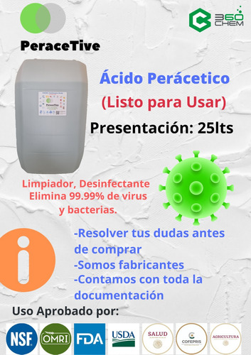 desinfectante viricida formulado de persan active lpu 25lts