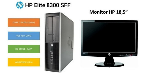 desktop hp elite 8300 + monitor 18,5 core i5 4gb + hd 500gb