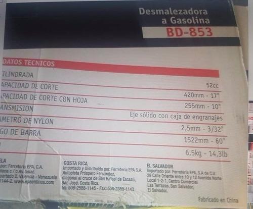 desmalezadora a gasolina caprino bd-853 52cc nueva