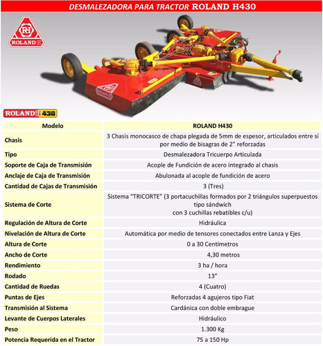 desmalezadora de arrastre roland h430 pro articulada 4,30mts