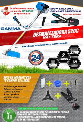 desmalezadora motoguadaña 52cc 2,4hp + plus linea 2019 gamma