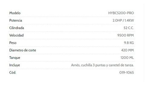 desmalezadora motoguadaña hyundai 52cc arnes hybc5200-pro cu