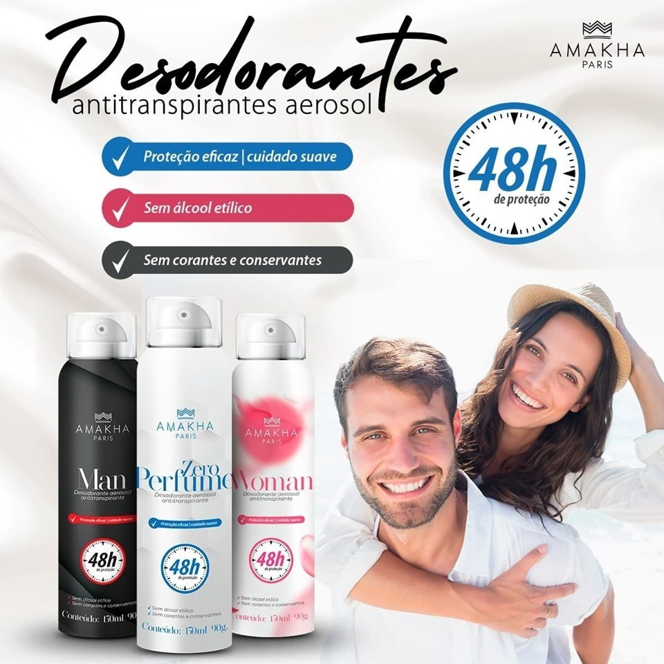 Desodorante Antitranspirante Amakha Paris 48horas - 150ml - R$ 29 ...