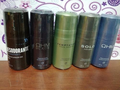 desodorante ohm y black, arom, solo, temptation, titanium