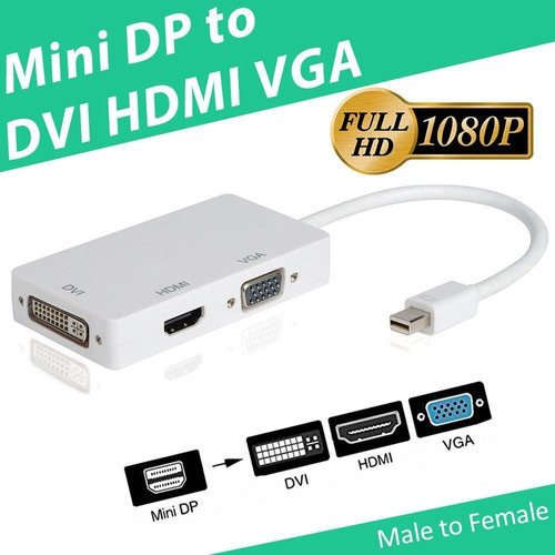 despacho gratis! conversor mini display port a vga dvi hdmi