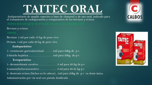 desparasitante taitec oral closantel x 200 ml lab calbos