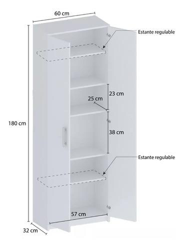 despensero organizador 2 puertas 180 cm blanco