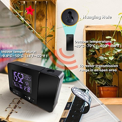 despertador, reloj de proyección digital protmex con estació
