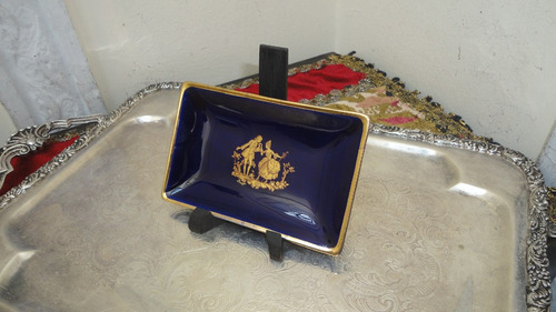 despojador porcelana limoges antiguo cobalto y oro vealo